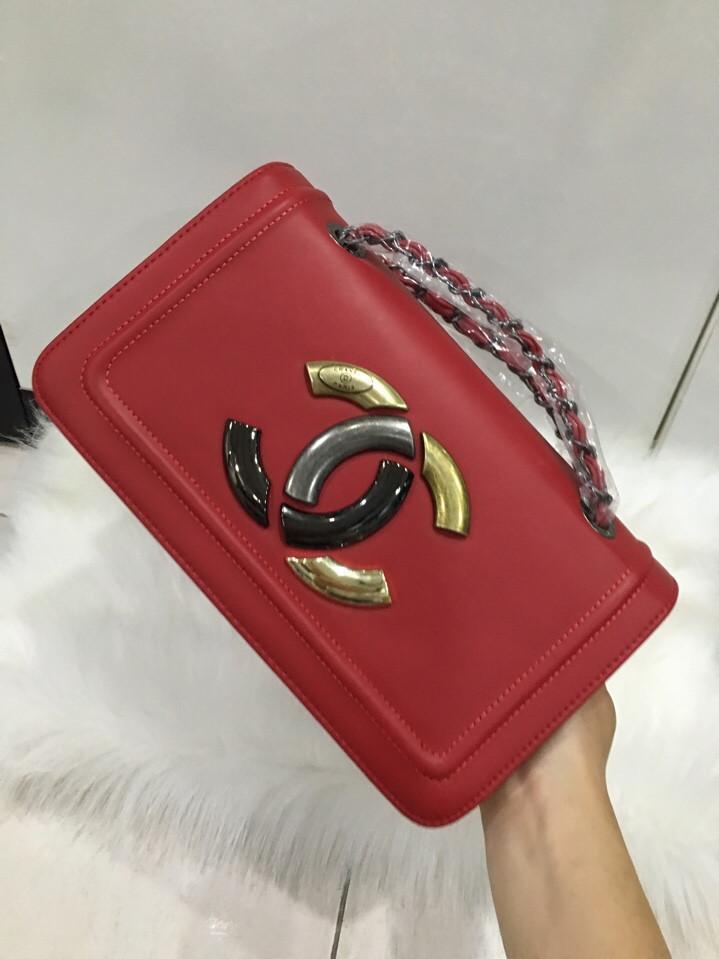 Túi Xách Chanel Logo Màu Đỏ  24 cm Đẹp