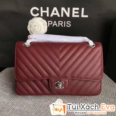 Túi Xách Chanel Maxi Siêu Cấp Vân V Màu Đỏ Đô
