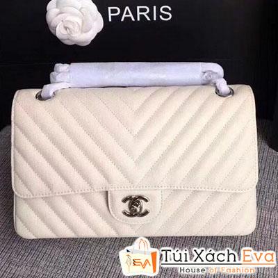 Túi Xách Chanel Maxi Siêu Cấp Vân V Màu Trắng