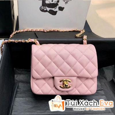 Túi Xách Chanel Mini Flap Bag Siêu Cấp Màu Hồng Khóa Vàng A35200