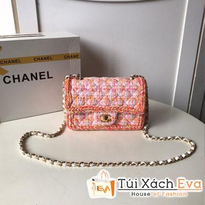 Túi Xách Chanel Mini Flap Bag Siêu Cấp Màu Hồng Khóa Vàng A69900