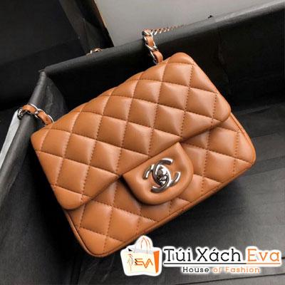 Túi Xách Chanel Mini Flap Bag Siêu Cấp Màu Nâu Khóa Bạc A35200