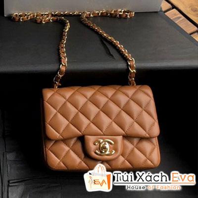Túi Xách Chanel Mini Flap Bag Siêu Cấp Màu Nâu Khóa Vàng A35200