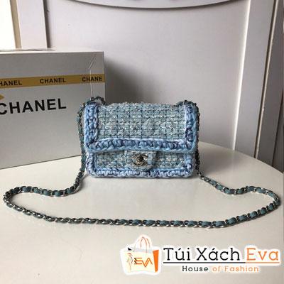 Túi Xách Chanel Mini Flap Bag Siêu Cấp Màu Xanh Dương Khóa Bạc  A69900