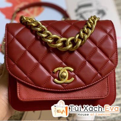 Túi Xách Chanel Nắp Gập Super Dây Xích To Màu Đỏ