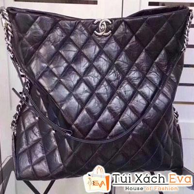 Túi Xách Chanel Nấp Nhăn Da Bò Màu Đen