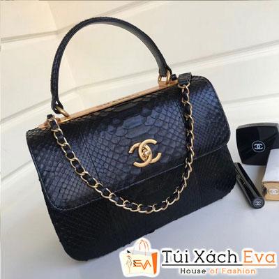 Túi Xách Chanel Nẹp Sắt Siêu Cấp Da Rắn Màu Đen Đẹp