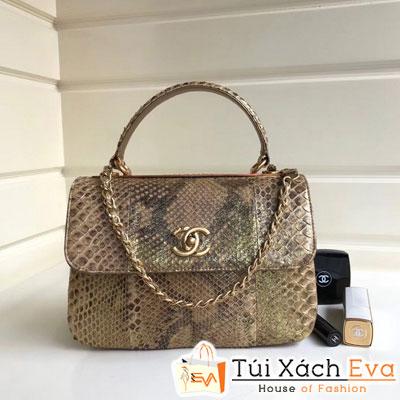 Túi Xách Chanel Nẹp Sắt Siêu Cấp Da Rắn Màu Rêu Đẹp