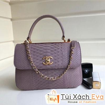 Túi Xách Chanel Nẹp Sắt Siêu Cấp Da Rắn Màu Tím Đẹp