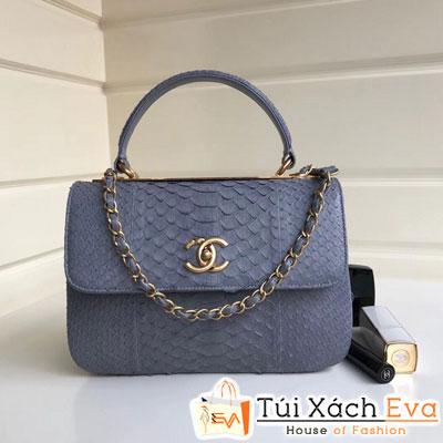 Túi Xách Chanel Nẹp Sắt Siêu Cấp Da Rắn Màu Xám Xanh Đẹp