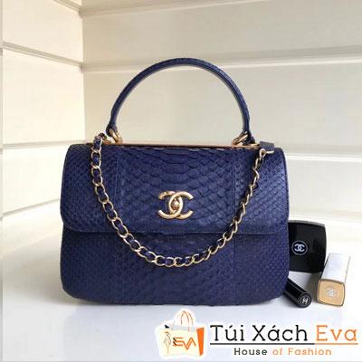 Túi Xách Chanel Nẹp Sắt Siêu Cấp Da Rắn Màu Xanh Đẹp