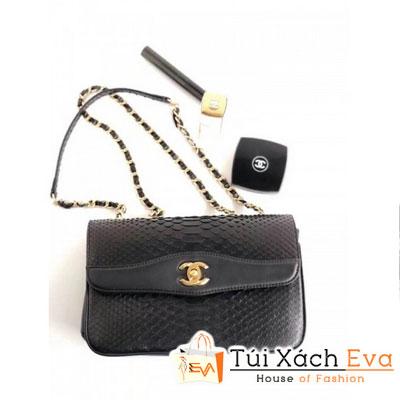 Túi Xách Chanel Python Flap Bag Siêu Cấp Màu Đen Da Rắn