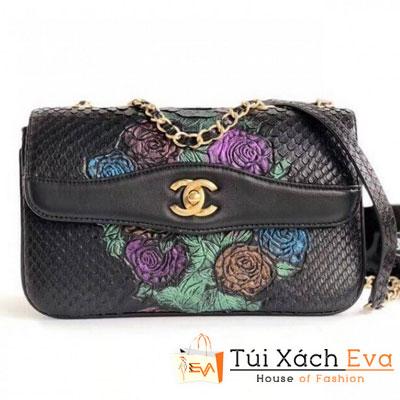 Túi Xách Chanel Python Flap Bag Siêu Cấp Màu Đen Thiêu Hoa