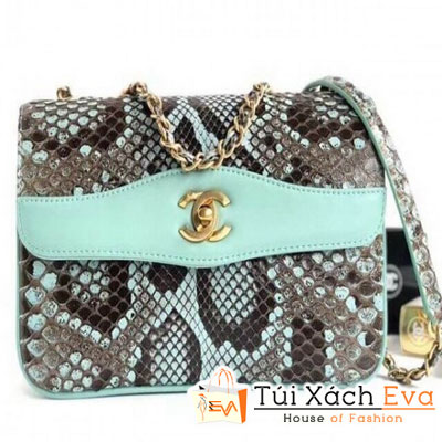 Túi Xách Chanel Python Flap Bag Siêu Cấp Màu Xanh Ngọc Da Rắn