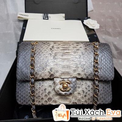 Túi Xách Chanel classic Rắn Siêu Cấp Màu Xám
