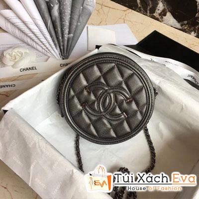 Túi Xách Chanel Round Siêu Cấp Màu Xám Đậm