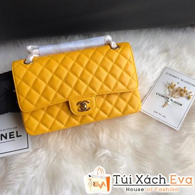 Túi Xách Chanel classic Siêu Cấp Da Hạt Khóa Vàng  Màu Vàng
