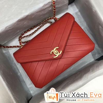 Túi Xách Chanel Siêu Cấp  Da Trơn Vân V Màu Đỏ