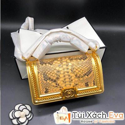 Túi Xách Chanel Siêu Cấp Da Vẫy Khóa Vàng Màu Vàng Đồng
