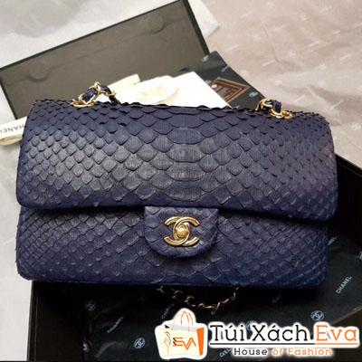 Túi Xách Chanel classic Siêu Cấp Da Vẫy Khóa Vàng Màu Xanh Đen