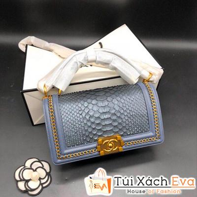 Túi Xách Chanel Siêu Cấp Da Vẫy Khóa Vàng Màu Xanh Dương Nhạt