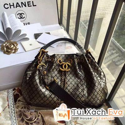Túi Xách Chanel Siêu Cấp Dây Rút Màu Vàng Nhủ  Da Trăn A93479