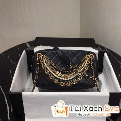 Túi Xách Chanel Siêu Cấp Đính Phụ Kiện  Màu Đen