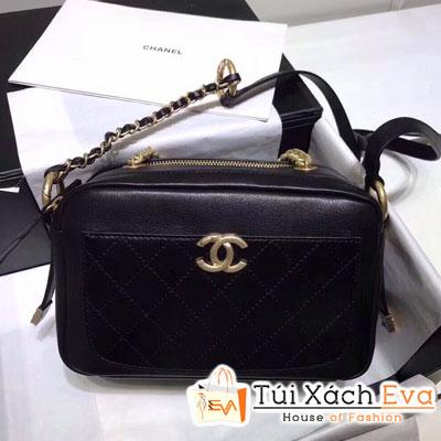 Túi Xách Chanel Siêu Cấp Hai Khóa Kéo Hình Hộp Màu Đen