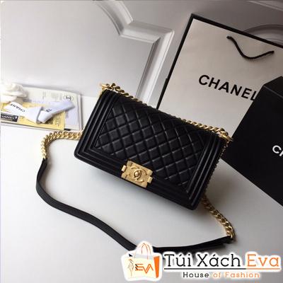 Túi Xách Chanel Siêu Cấp Màu Đen Da Lì Khóa Vàng