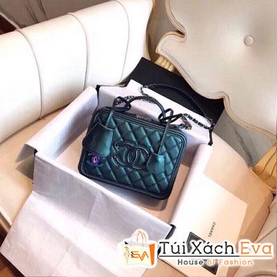 Túi Xách Chanel Siêu Cấp Màu Xanh Khóa Kéo Hình Hộp