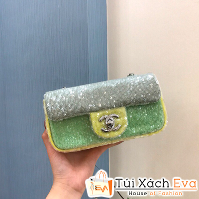 Túi Xách Chanel Siêu Cấp Màu Xanh Lá Kim Tuyến