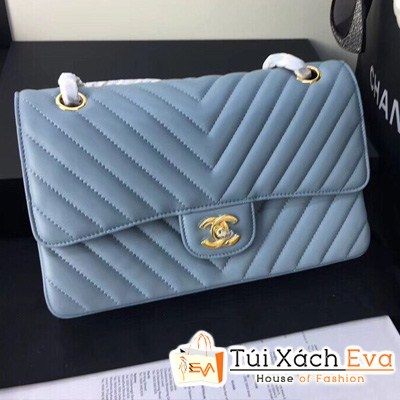 Túi Xách Chanel Siêu Cấp Sọc V Màu Xanh