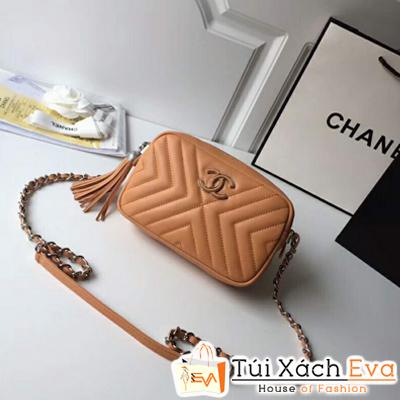 Túi Xách Chanel Siêu Cấp Tua Rua Màu Cam Đất