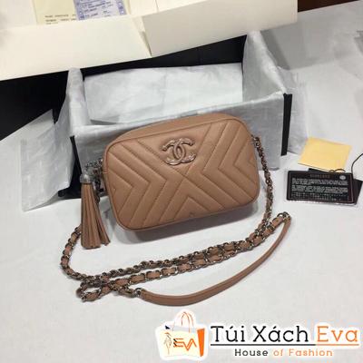 Túi Xách Chanel Siêu Cấp Tua Rua Màu Nâu