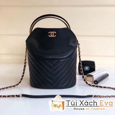 Túi Xách Chanel Siêu Cấp  Vân V Hình Trụ Màu Đen