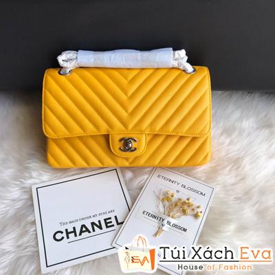 Túi Xách Chanel classic Siêu Cấp  Vân V Khóa Bạc Màu Vàng