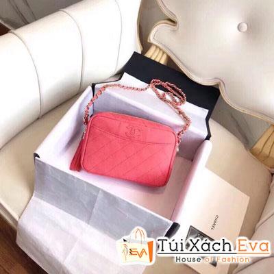 Túi Xách Chanel Siêu Vip Da Hạt Hình Vuông Màu Hồng Cam