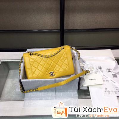Túi Xách Chanel Siêu Vip Da Nhăn Khóa Bạc Màu Vàng