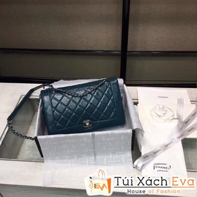 Túi Xách Chanel Siêu Vip Da Nhăn Khóa Bạc Màu Xanh Rêu