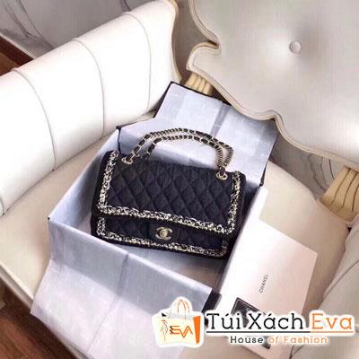 Túi Xách Chanel Siêu Vip Vải Khóa Vàng Màu Đen