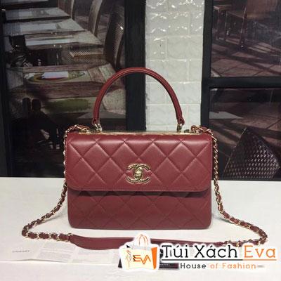 Túi Xách Chanel Small Flap Bag With Top Handle Siêu Cấp Da Lì Màu Đỏ Đô 92236
