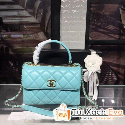 Túi Xách Chanel Small Flap Bag With Top Handle Siêu Cấp Da Lì Màu Xanh Dương 92236