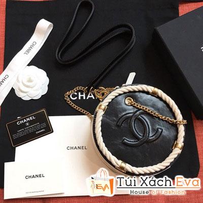 Túi Xách Chanel Small Round Bag Siêu Cấp Màu Trắng Đen AS0075