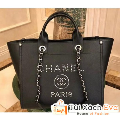 Túi Xách Chanel Studded Grained Calfskin Deauville Siêu Cấp Màu Đen A57069