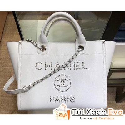 Túi Xách Chanel Studded Grained Calfskin Deauville Siêu Cấp Màu Trắng A57069