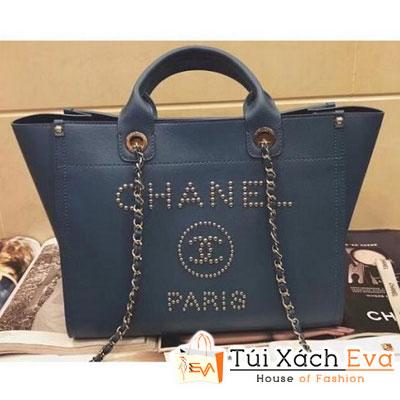 Túi Xách Chanel Studded Grained Calfskin Deauville Siêu Cấp Màu Xanh Dương A57069