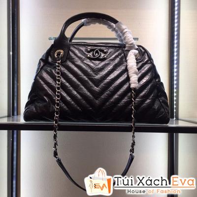 Túi Xách Chanel Vòm Siêu Cấp Vân V Màu Đen Da Lì