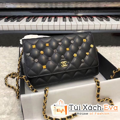 Túi Xách Chanel Wallet On Chain Siêu Cấp Màu Đen Đính Phụ Kiện A81618
