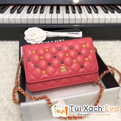 Túi Xách Chanel Wallet On Chain Siêu Cấp Màu Đỏ  Đính Phụ Kiện A81618