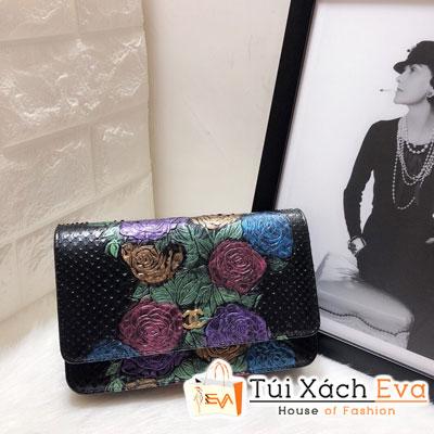 Túi Xách Chanel Woc Siêu Cấp Da Rắn Màu Đen Hoa Hồng 33814